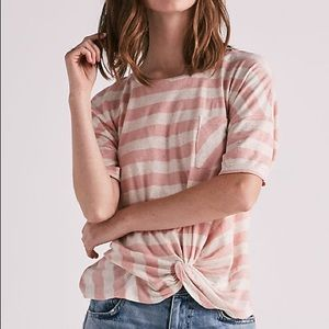 Lucky Brand Twist Front Striped Tee